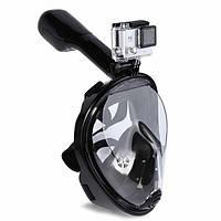 Повна панорамна маска для плавання FREE BREATH (L/XL) M2068G з кріпленням для камери Чорний