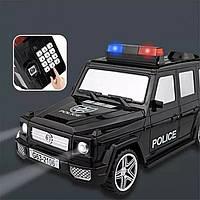 Машинка 3в1 копилка + сейф + игрушка полицейская черная