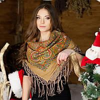 Українська хустка (100х100 см, кавова) - ОРНАМЕНТ
