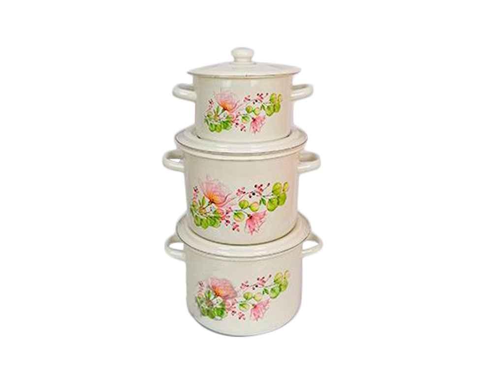 Набір ем. посуду 3-х предм. №242 Квіткова вуаль молочна ТМ IDILIA