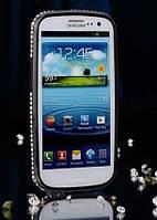 Черный бампер с камнями Сваровски для Samsung Galaxy S3/S3 duos
