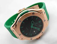 Женские часы HUBLOT - Geneve зеленый ремешок, японский кварцевый механизм