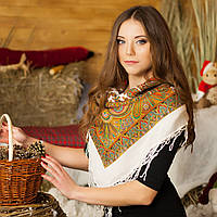 Українська хустка (100х100 см, біла) - ОРНАМЕНТ, фото 1