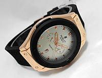 Мужские часы HUBLOT Geneve - черный ремешок, цвет корпуса золотистый, белый циферблат