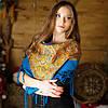 Українська хустка (100х100 см, голуба) - ОРНАМЕНТ