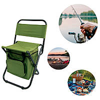(GIPS), Розкладний стілець туристичний з термосумкою, Зелений стільчик 58х35см для риболовлі з спинкою  (складной
