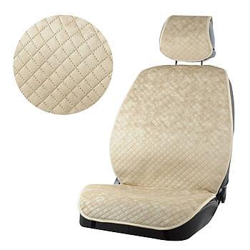 Накидки на сидения из Алькантара Бежевый PREMIUM DEKOR полный комплект
