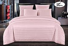 Комплект постельного  белья Страйп Сатин с простыней на резинке Евро  200✖️220 Розовый в подарочной упаковке
