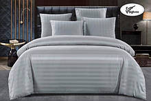 Комплект постельного  белья Страйп Сатин с простыней на резинке Евро  200✖️220 Серый в подарочной упаковке