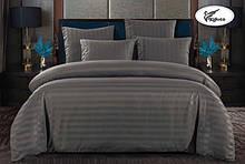 Комплект постельного  белья Страйп Сатин с простыней на резинке Евро  200✖️220 Графит в подарочной упаковке