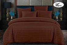 Комплект постельного  белья Страйп Сатин с простыней на резинке Евро  200✖️220 Коричневый  подарочной упаковке