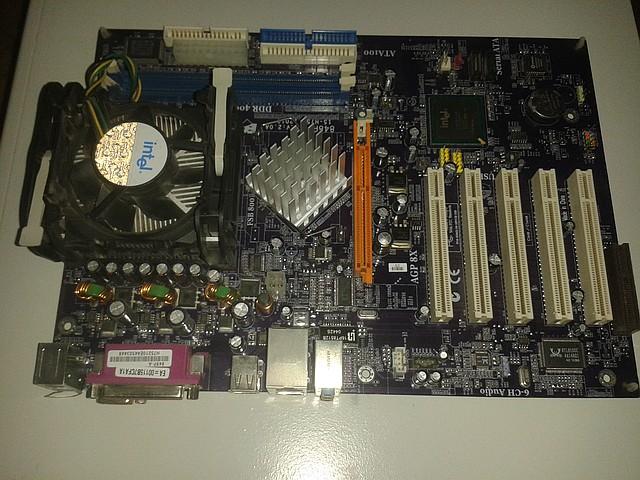 Материнская плата ECS 848P-A v1.0 + процессор Intel P.4, 2.40 GHz,  + кулер, s478