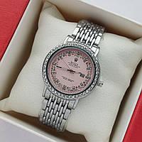 Жіночі наручні годинники Rolex datejust (ролекс) сріблясті з рожевим циферблатом, дата - код 2070