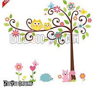 """Наклейка на стену в детскую комнату ZooYoo Oiginal 100*125см (лист 50*70см) """"совы на дереве"""""""