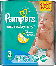 Подгузники Pampers Active Baby-Dry Midi 3 (4-9 кг.) 90 шт. giant pack