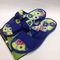 Женские синие тапочки на легкой подошве с открытым носком