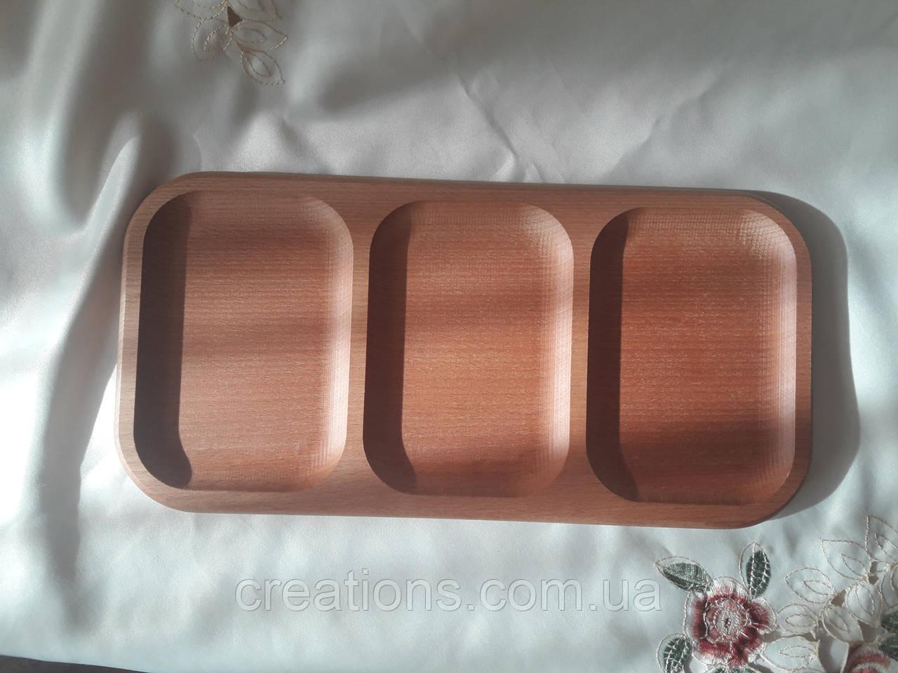 Менажница деревянная 37х18 см. прямоугольная на 3 секции из бука БМ-22