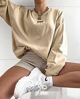 Модное женское базовое однотонное худи (свитшот) с надписью