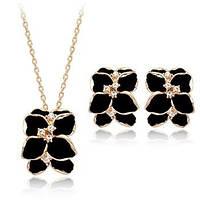 Комплект ЧЕРНЫЕ ЦВЕТЫ ювелирная бижутерия золото 18К декор кристаллы Swarovski