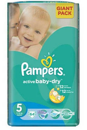 Подгузники Pampers Active Baby-Dry Junior 5 (11-18кг.) 64 шт. giant pack, фото 2