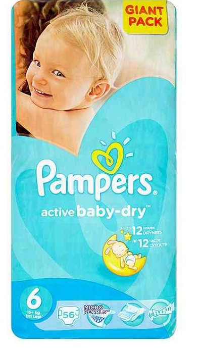 Подгузники Pampers Active Baby-Dry Extra Large 6 (15+кг.) 56 шт. giant pack