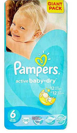 Подгузники Pampers Active Baby-Dry Extra Large 6 (15+кг.) 56 шт. giant pack, фото 2