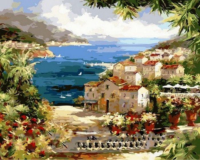 Картина раскраска по номерам на холсте 40*50см  Mariposa Q2134 Веранда с видом на океан