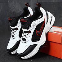 Мужские кроссовки в стиле Nike AIR MONARCH IV, (Найк Аір Монарх 4), кожа, черно-белый, Вьетнам