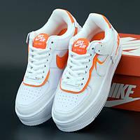 Женские кроссовки в стиле Nike Air Force 1 Shadow, Найк аир форсе 1 шадов, кожа, белый, оранжевый, Вьетнам