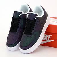 Женские кроссовки в стиле Nike Air Force 1 Low, Найк Аир Форс 1 лов, кожа, баклажановый, рефлектив, Вьетнам