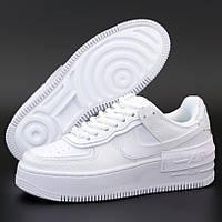 Женские кроссовки в стиле Nike Air Force 1 Shadow, Найк аир форсе 1 шадов, кожа, белый, Вьетнам