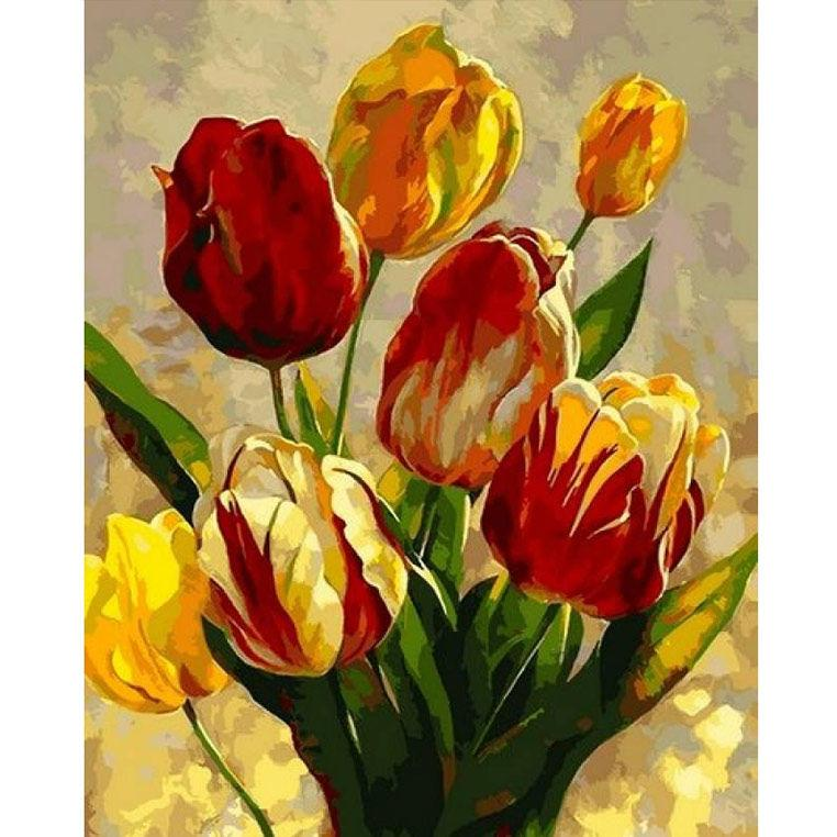 Картина розфарбування по номерах на полотні - 40*50см Mariposa Q2182 Весняні тюльпани