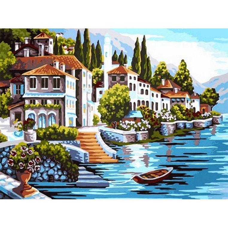 Картина раскраска по номерам на холсте 30*40см Babylon VK099 Белоснежная гавань