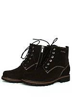 Женские демисезонные замшевые ботинки шоколадного цвета со шнуровкой, фото 1