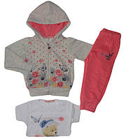 Трикотажный костюм-тройка для девочек оптом, F&D, 1-5 лет. арт.3506, фото 1
