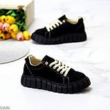 Стильні кросівки/ кеди жіночі чорні еко - нубук, фото 2
