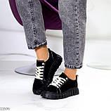 Стильні кросівки/ кеди жіночі чорні еко - нубук, фото 4