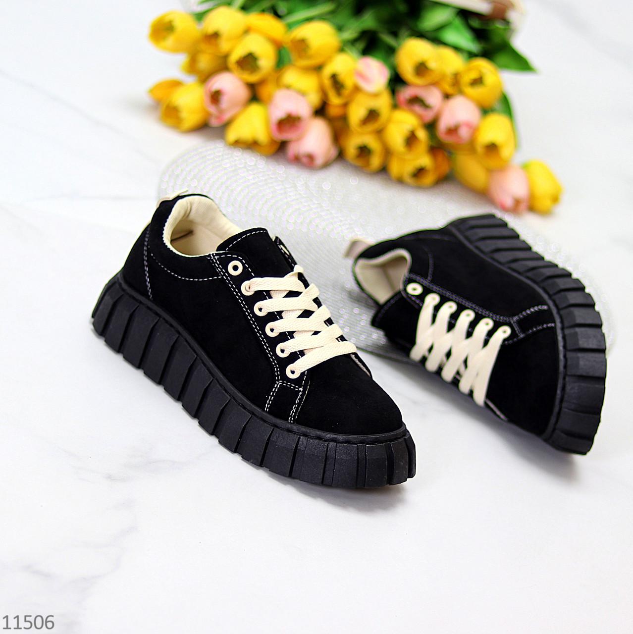 Стильні кросівки/ кеди жіночі чорні еко - нубук