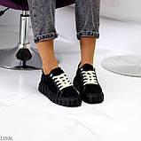 Стильні кросівки/ кеди жіночі чорні еко - нубук, фото 7
