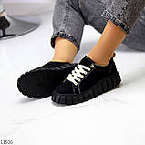 Стильні кросівки/ кеди жіночі чорні еко - нубук, фото 8