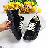 Стильні кросівки/ кеди жіночі чорні еко - нубук, фото 9