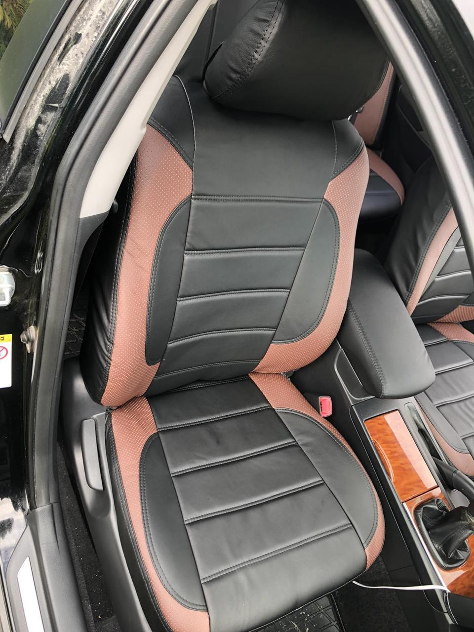 Чехлы на сиденья ВАЗ Лада Калина 2118 (VAZ Lada Kalina 2118) модельные MAX-L из экокожи Черно-коричневый