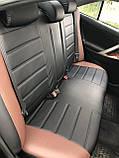 Чехлы на сиденья ВАЗ Лада Калина 2118 (VAZ Lada Kalina 2118) модельные MAX-L из экокожи Черно-коричневый, фото 2