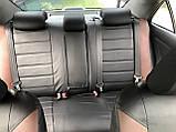 Чехлы на сиденья ВАЗ Лада Калина 2118 (VAZ Lada Kalina 2118) модельные MAX-L из экокожи Черно-коричневый, фото 3