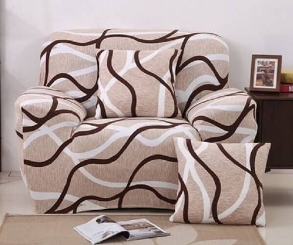 Чехлы на кресла натяжные, натяжной чехол на кресло без юбки HomyTex с рисунком Волна бежевый