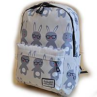 Рюкзак міський спортивний шкільний для підлітка Зайці 5902-3 Сірий ( код: IBR169S )