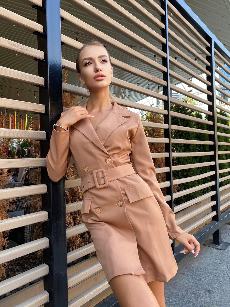 Платье-пиджак женское с длинным рукавом, двубортное, с поясом