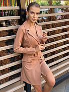 Платье-пиджак женское с длинным рукавом, двубортное, с поясом, фото 2