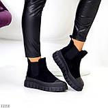 Жіночі черевики ДЕМІ чорні з гумкою еко замш весна/ осінь, фото 2