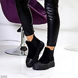 Жіночі черевики ДЕМІ чорні з гумкою еко замш весна/ осінь, фото 4